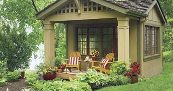 "remodeled shed with cottage style Awesome way to do a ""guest room""."