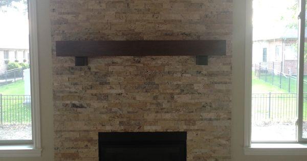 Travertine Stone Fireplace Designs : Travertine stacked stone fireplace my designs