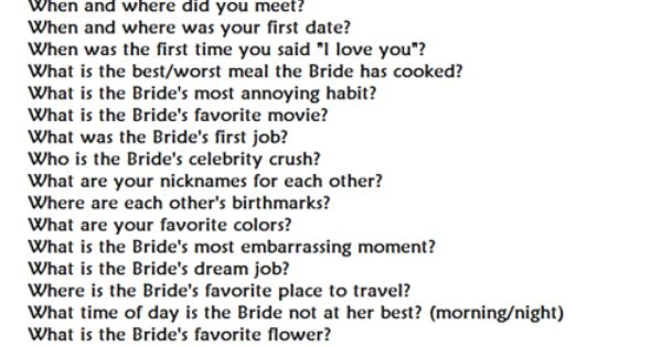 Mr And Mrs Hen Party Questions: Almost Mr. & Mrs. Quiz, Do This For The Bride Then Switch
