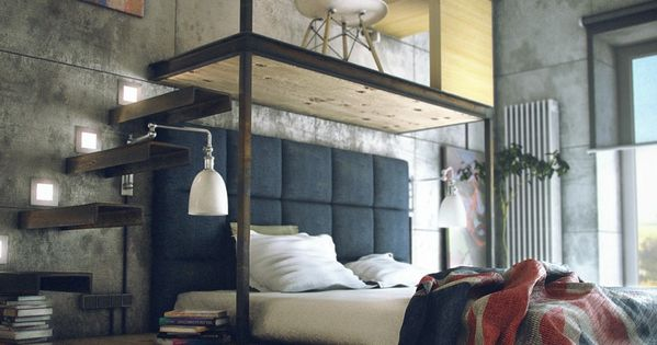 modern and chic.. this loft's space is used BedRoom Bed Room bedroom