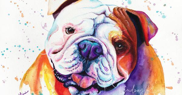 English Bulldog Art Print Colorful Pet Portrait Bulldog Etsy In 2020 English Bulldog Art Bulldog Art Bulldog Art Print