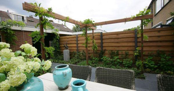 Kleine tuin 48m2 25 jardin pinterest tuin tuin idee n en idee n - Wijnstokken pergola ...