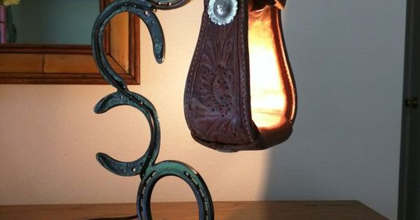 Very unique accent lamp made from up cycled horse shoes for Artistic accents genuine silver decoration