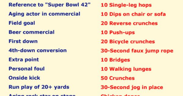 Superbowl Workout Game (can work for any football game if you want