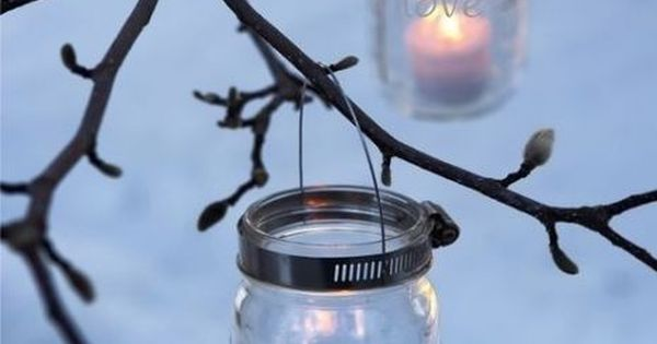 Mason Jar Lanterns party lights home outdoors candles jars inspiration decorate entertain