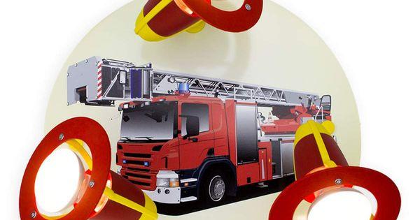 Deckenleuchte Feuerwehrauto Rot Gelb Dreiflammig Wandstrahler Feuerwehrauto Und Kinder Deckenleuchte
