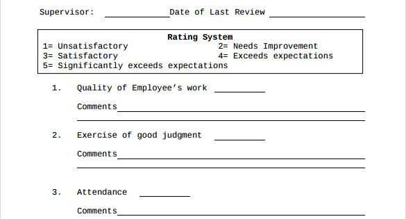 Employee Evaluation Form 41 Download Free Documents in PDF - employee review form free download