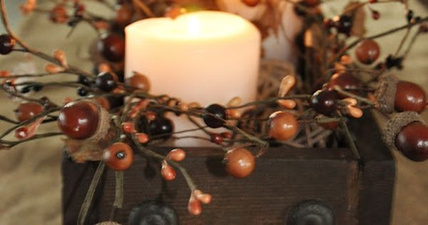 Diy fall centerpiece acorn berry garland with the box