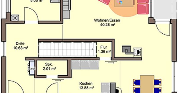 architekten haus quadro grundriss erdgeschoss au enma e 11 30 x 9 50 m gesamt grundfl che nach. Black Bedroom Furniture Sets. Home Design Ideas