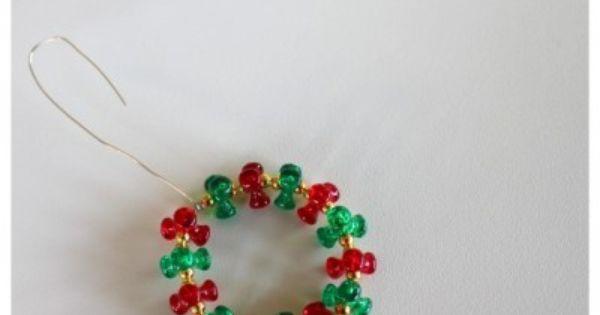 Beaded Wreath Tutorial The Crafty Mummy Beaded Christmas Ornaments Beaded Christmas Decorations Christmas Wreath Craft