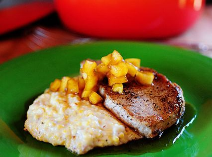 Pork Chops With Apples And Creamy Bacon Cheese Grits Recipe ...