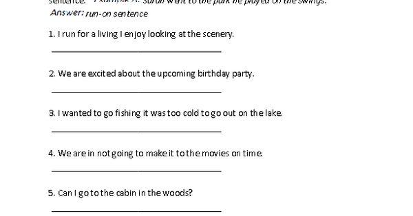 Run-on Sentence or Not Worksheet : Englishlinx.com Board ...