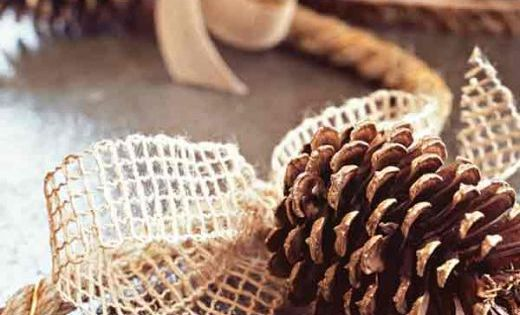 DIY garland idea.. pine cone and burlap garland
