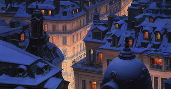 #winter snowy rooftops city Paris snow covered evening night