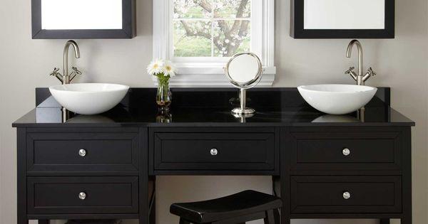 """Black Vanity Cabinet Vessel Sink: 72"""" Taren Black Double Vessel Sink Vanity With Makeup Area"""