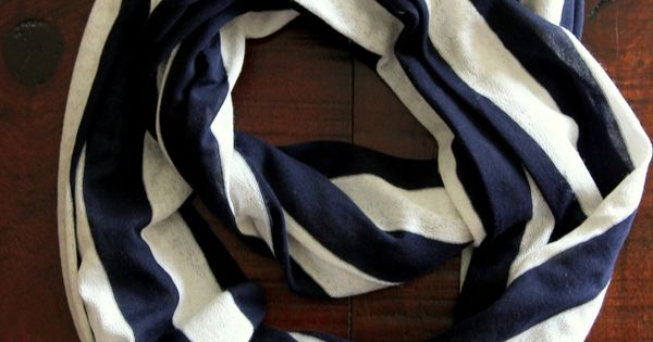Navy and White Striped Scarf Nautical Striped by Northernly, $28.00