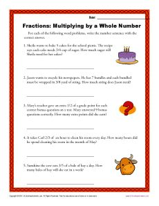 Multiplying By A Whole Number Fractions Worksheets Fractions Worksheets Fraction Word Problems Fractions Math fraction word problems worksheets