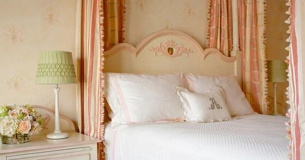 Soft peach and yellow wallpaper creates the perfect for Girly wallpapers for bedrooms