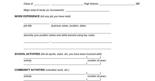 Fill In The Blank Resume Form - PDF