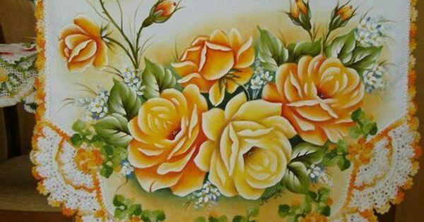 Camino de mesa rosas amarillas pintura ganchillo - Pintura en tela dibujos ...