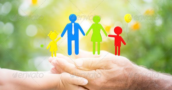 Child and a senior man holding a 3D family against the green background