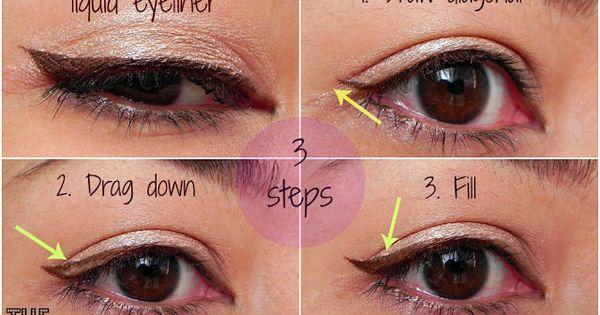 3 step winged eyeliner