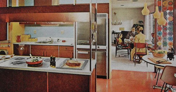 1960s kitchen mod dining room modern vintage interior - Kitchen and dining interior design ...