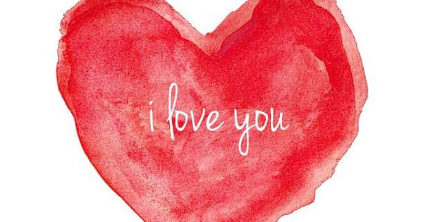 Watercolor Painting i love you Valentine's Day Heart Red Heart on Etsy,