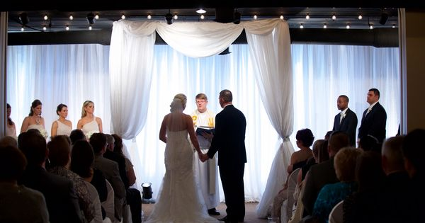 We love the custom drape used for this wedding ceremony in for Love on the terraces