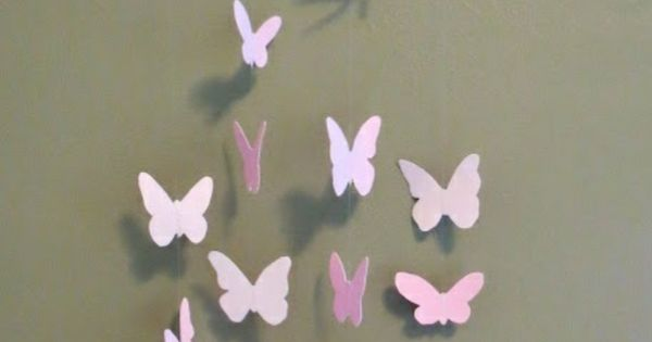 bastelideen zweige papier schmetterlinge rosa lila. Black Bedroom Furniture Sets. Home Design Ideas