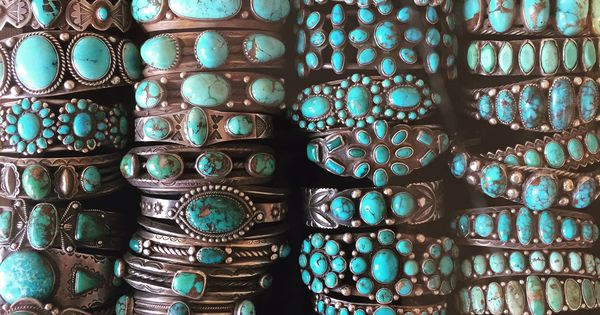 Stacks of vintage navajo and zuni turquoise bracelets at for Turquoise jewelry taos new mexico