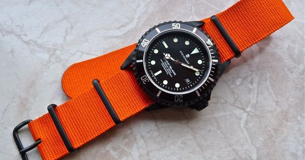 Steinhart black PVD Ocean on orange nato strap