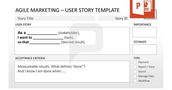 Agile marketing for powerpoint always keep the user story for Agile storyboard template