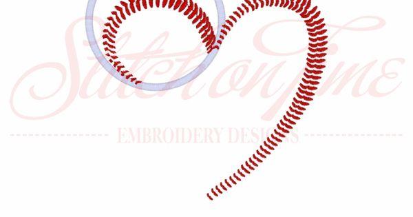 160 Baseball Heart Baseball Applique 6x10 Embroidery