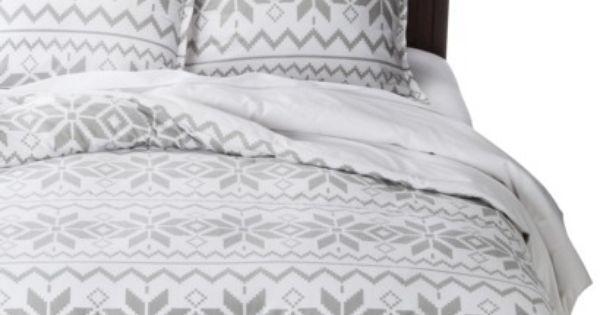 Holiday Flannel Duvet Cover Set Gray Fair Isle Snow