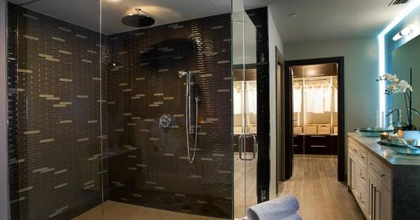 Master Bathroom (glass tile, back-lit vanity mirror)