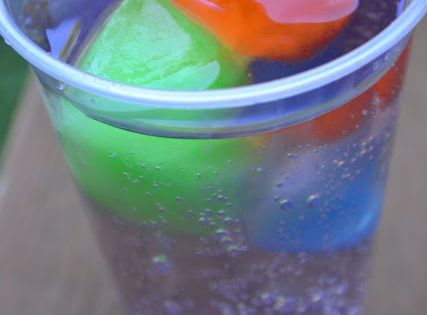 KoolAid ices cubes in Sprite. The drink changes flavor as the ice