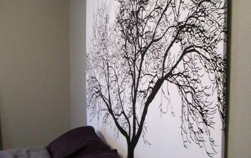 large scale artwork. DIY Headboard Using Popular Tree Shower Curtain. No tutorial,