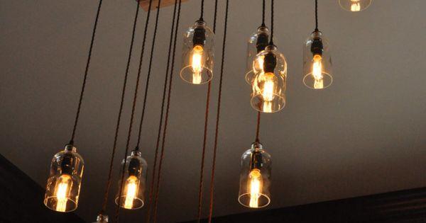 lampade e lampadari post industriale con bottiglie riciclate  Idee x il mio casale  Pinterest ...