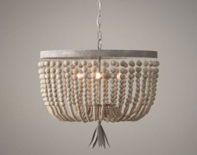 Rh Baby Amp Child 39 S Dauphine Wood Medium Pendant Adorned With Strands Of Wood Beads Our Aged Me Beaded Light Fixture Diy Chandelier Wood Bead Chandelier