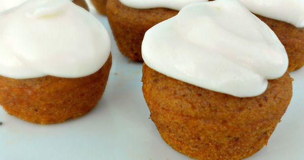 Bring on fall! Pumpkin Muffin Bites with fluffy cream cheese frosting .