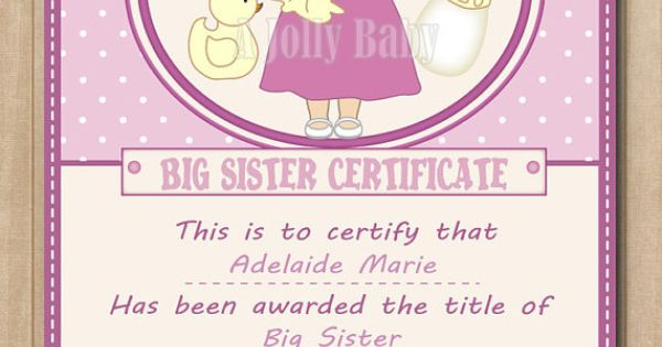 Personalized Big Sister Certificate Digital Printable