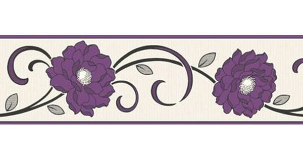 Fine Decor Florentina Border Plum Homebase Wallpaper Border Floral Border Woodchip Wallpaper