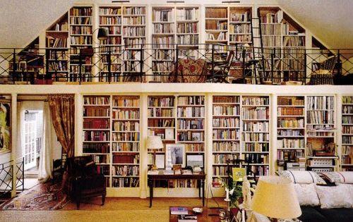 Living room: Tony's dream library