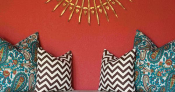 Red wall in living room - great accent pieces