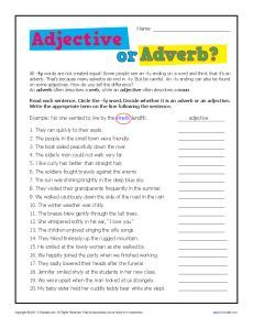 Adjective or Adverb   English grammar worksheets, Parts of ...