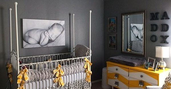 Love the gray and yellow baby nursery