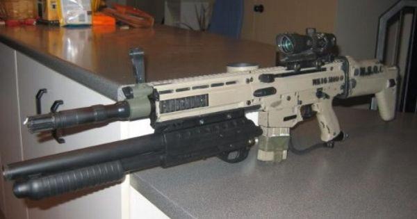 Scar with an under barrel 12 gauge shotgun called for 12 gauge door buster