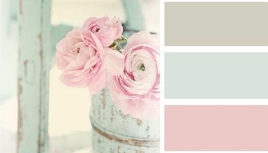 Shabby chic color schemes are normally pastel shades contrasting with simple rustic