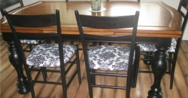Cover Kitchen Chair Cushions With Vinyl Tablecloth Fabric To Make For Easy Cleanup